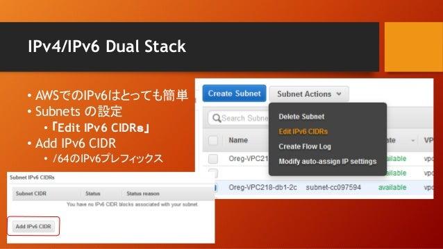 IPv4/IPv6 Dual Stack • AWSでのIPv6はとっても簡単 • Subnets の設定 • 「Edit IPv6 CIDRs」 • Add IPv6 CIDR • /64のIPv6プレフィックス