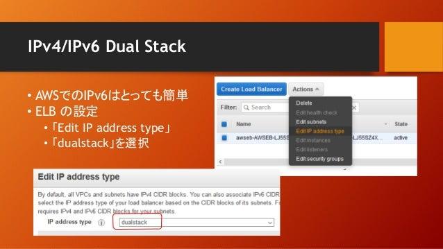 IPv4/IPv6 Dual Stack • AWSでのIPv6はとっても簡単 • ELB の設定 • 「Edit IP address type」 • 「dualstack」を選択