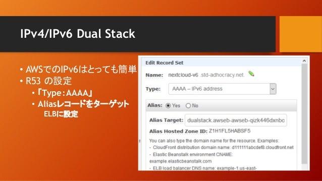 IPv4/IPv6 Dual Stack • AWSでのIPv6はとっても簡単 • R53 の設定 • 「Type:AAAA」 • Aliasレコードをターゲット ELBに設定