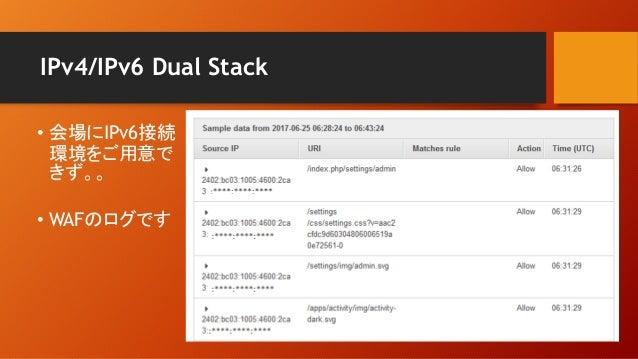 IPv4/IPv6 Dual Stack • 会場にIPv6接続 環境をご用意で きず。。 • WAFのログです
