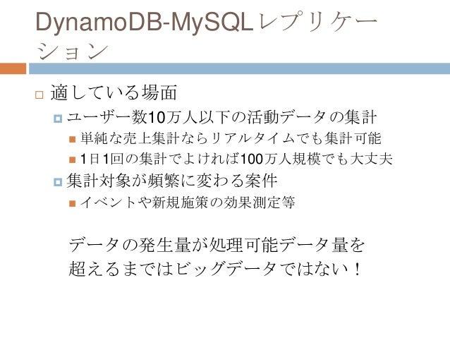DynamoDB-MySQLレプリケー ション  適している場面  ユーザー数10万人以下の活動データの集計  単純な売上集計ならリアルタイムでも集計可能  1日1回の集計でよければ100万人規模でも大丈夫  集計対象が頻繁に変わる案...