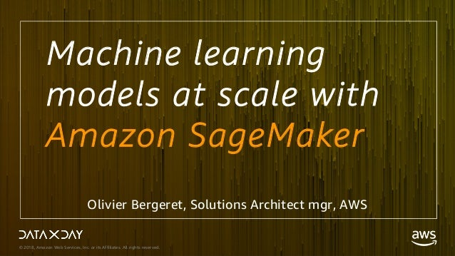 © 2018, Amazon Web Services, Inc. or its Affiliates. All rights reserved. Machine learning models at scale with Amazon Sag...