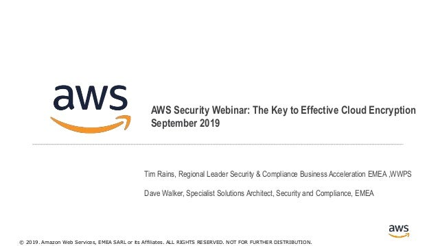 © 2017, Amazon Web Services, Inc. or its Affiliates. All rights reserved. AWS Security Webinar: The Key to Effective Cloud...
