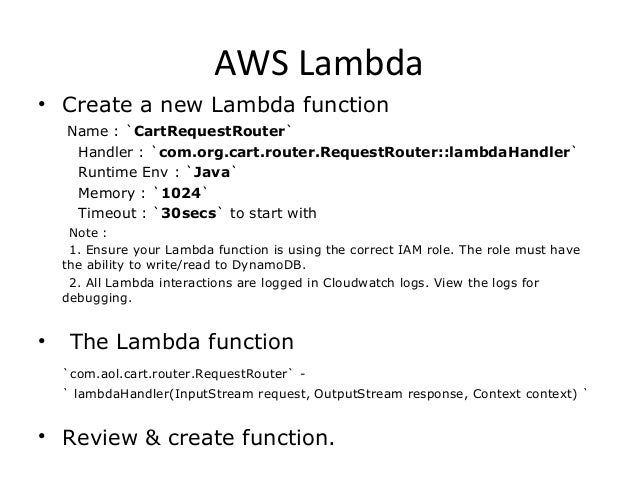 Aws Lambda Cart Microservice Server Less
