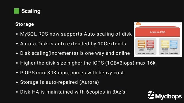 Scaling WW Storage MySQL RDS now supports Auto-scaling of disk Aurora Disk is auto extended by 10Gextends Disk scaling(inc...