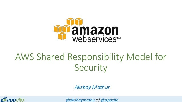 AWS Shared Responsibility Model for Security Akshay Mathur @akshaymathu of @appcito
