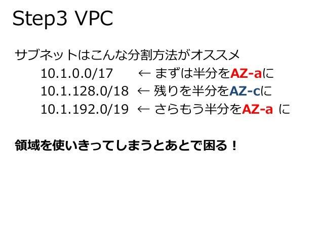 Step3 VPC  サブネットはこんな分割方法がオススメ  10.1.0.0/17 ← まずは半分をAZ-aに  10.1.128.0/18 ← 残りを半分をAZ-cに  10.1.192.0/19 ← さらもう半分をAZ-a に  領域を使...