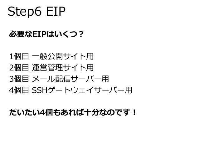 Step6 EIP  必要なEIPはいくつ?  1個目一般公開サイト用  2個目運営管理サイト用  3個目メール配信サーバー用  4個目SSHゲートウェイサーバー用  だいたい4個もあれば十分なのです!
