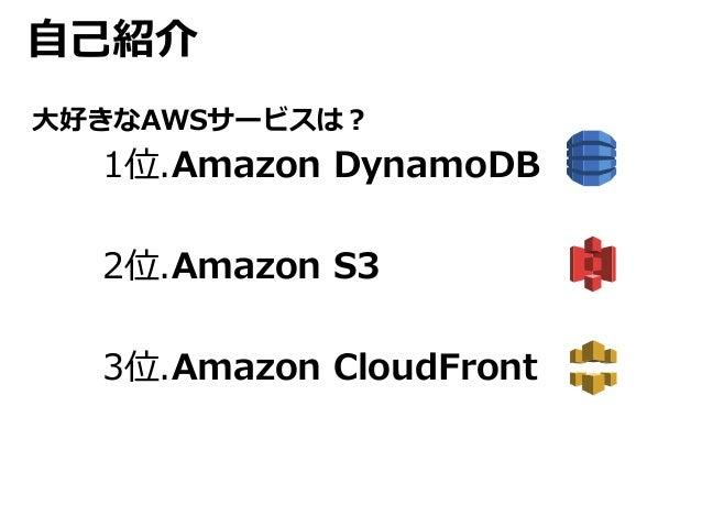 自己紹介  大好きなAWSサービスは?  1位.Amazon DynamoDB  2位.Amazon S3  3位.Amazon CloudFront