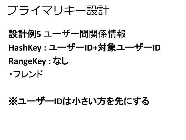 プライマリキー設計  設計例5 ユーザー間関係情報  HashKey : ユーザーID+対象ユーザーID  RangeKey : なし  ・フレンド  ※ユーザーIDは小さい方を先にする