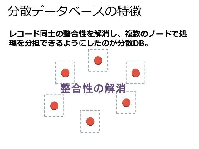分散データベースの特徴  レコード同士の整合性を解消し、複数のノードで処  理を分担できるようにしたのが分散DB。  整合性の解消