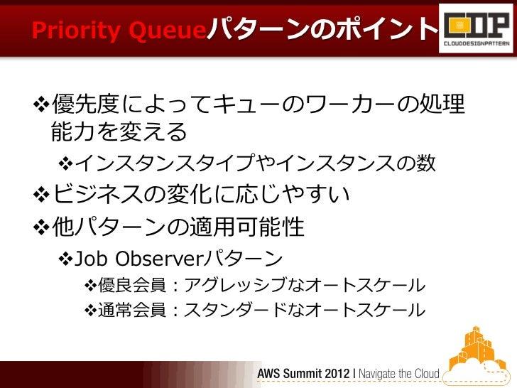 Priority Queueパターンのポイント優先度によってキューのワーカーの処理 能力を変える インスタンスタイプやインスタンスの数ビジネスの変化に応じやすい他パターンの適用可能性 Job Observerパターン  優良会員:ア...