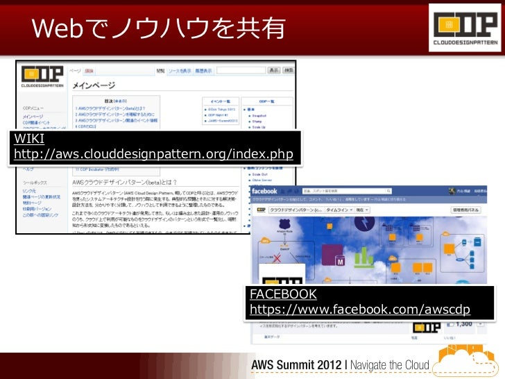 Webでノウハウを共有WIKIhttp://aws.clouddesignpattern.org/index.php                                    FACEBOOK                    ...