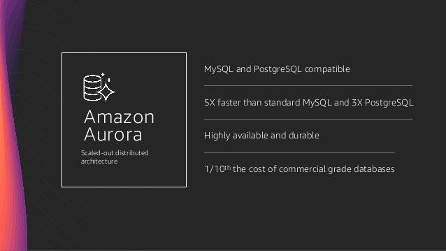 Amazon Aurora MySQL and PostgreSQL compatible 5X faster than standard MySQL and 3X PostgreSQL Highly available and durable...