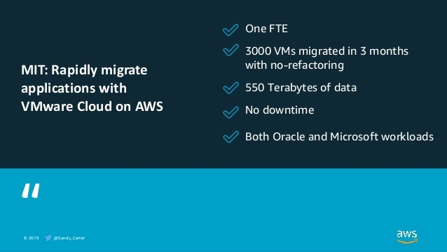© 2019 @Sandy_Carter One FTE 3000 VMs migrated in 3 months with no-refactoring 550 Terabytes of data No downtime Both Orac...