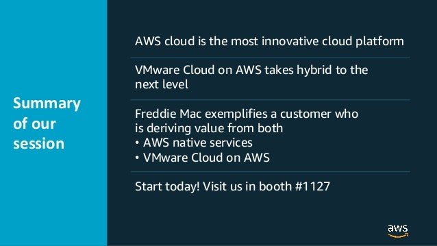 © 2019 @Sandy_Carter Summary of our session AWS cloud is the most innovative cloud platform VMware Cloud on AWS takes hybr...
