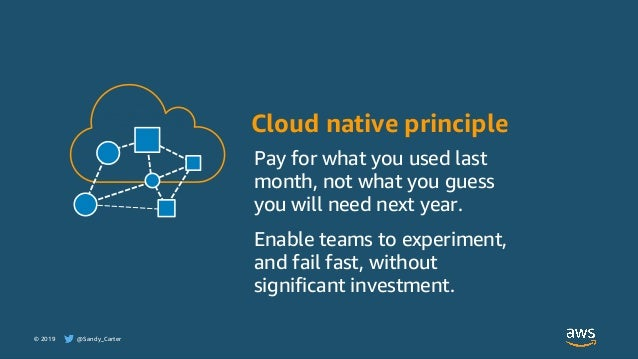 © 2019 @Sandy_Carter Cloud native principle Pay for what you used last month, not what you guess you will need next year. ...