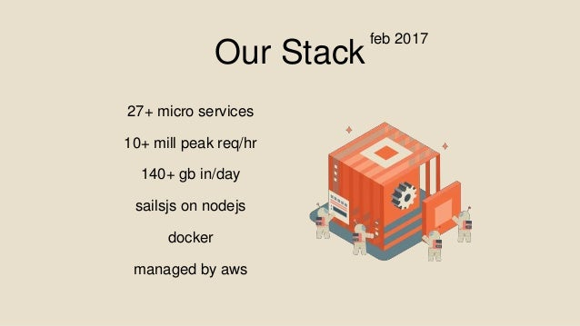 Our Stack 27+ micro services 10+ mill peak req/hr 140+ gb in/day sailsjs on nodejs docker managed by aws feb 2017