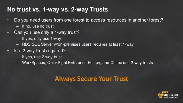 No trust vs. 1-way vs. 2-way Trusts • Do you need users from one forest to access resources in another forest? – If no, us...