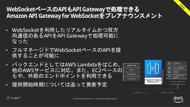 © 2018, Amazon Web Services, Inc. or its affiliates. All rights reserved. WebSocketベースのAPIもAPI Gatewayで処理できる Amazon API Ga...