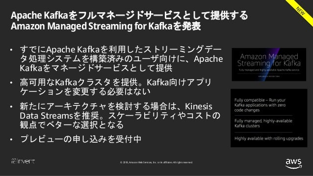 © 2018, Amazon Web Services, Inc. or its affiliates. All rights reserved. Apache Kafkaをフルマネージドサービスとして提供する Amazon Managed S...