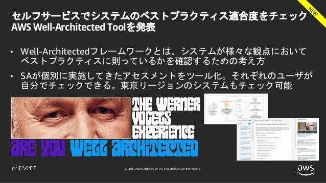 © 2018, Amazon Web Services, Inc. or its affiliates. All rights reserved. セルフサービスでシステムのベストプラクティス適合度をチェック AWS Well-Architec...