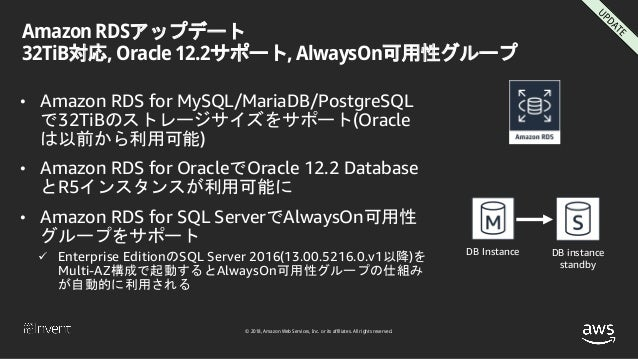 © 2018, Amazon Web Services, Inc. or its affiliates. All rights reserved. Amazon RDSアップデート 32TiB対応, Oracle 12.2サポート, Alway...