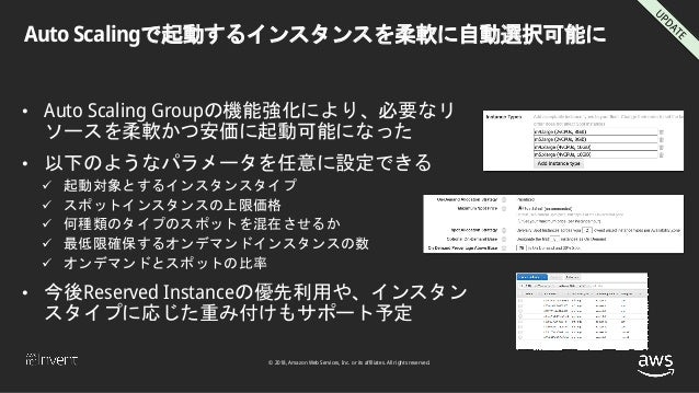© 2018, Amazon Web Services, Inc. or its affiliates. All rights reserved. Auto Scalingで起動するインスタンスを柔軟に自動選択可能に • Auto Scalin...