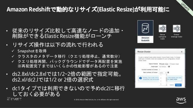 © 2018, Amazon Web Services, Inc. or its affiliates. All rights reserved. Amazon Redshiftで動的なリサイズ(Elastic Resize)が利用可能に • ...