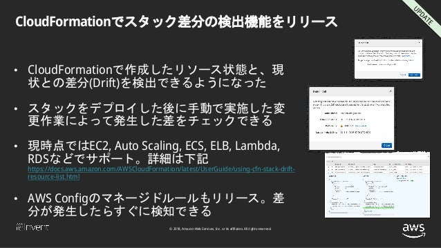 © 2018, Amazon Web Services, Inc. or its affiliates. All rights reserved. CloudFormationでスタック差分の検出機能をリリース • CloudFormation...