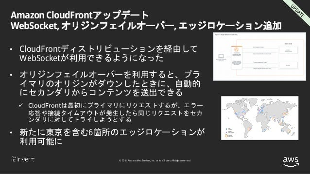 © 2018, Amazon Web Services, Inc. or its affiliates. All rights reserved. Amazon CloudFrontアップデート WebSocket, オリジンフェイルオーバー,...