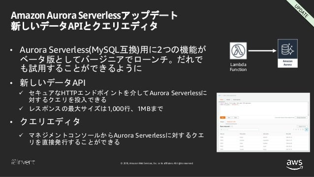 © 2018, Amazon Web Services, Inc. or its affiliates. All rights reserved. Amazon Aurora Serverlessアップデート 新しいデータAPIとクエリエディタ...