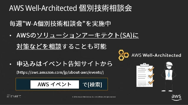 © 2018, Amazon Web Services, Inc. or its affiliates. All rights reserved. AWS Well-Architected 個別技術相談会 • •