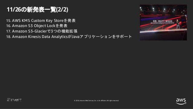 © 2018, Amazon Web Services, Inc. or its affiliates. All rights reserved. 11/26の新発表一覧(2/2) 15. AWS KMS Custom Key Storeを発表...
