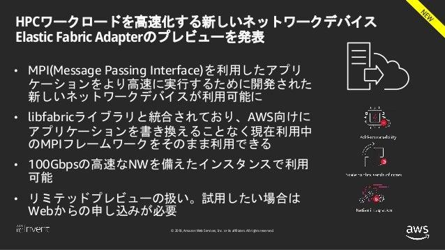 © 2018, Amazon Web Services, Inc. or its affiliates. All rights reserved. HPCワークロードを高速化する新しいネットワークデバイス Elastic Fabric Adap...
