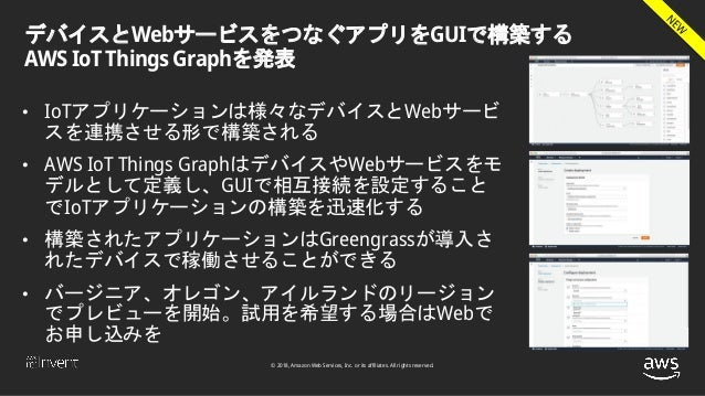 © 2018, Amazon Web Services, Inc. or its affiliates. All rights reserved. デバイスとWebサービスをつなぐアプリをGUIで構築する AWS IoT Things Grap...