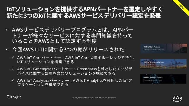 © 2018, Amazon Web Services, Inc. or its affiliates. All rights reserved. IoTソリューションを提供するAPNパートナーを選定しやすく 新たに3つのIoTに関するAWSサ...