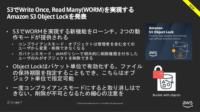 © 2018, Amazon Web Services, Inc. or its affiliates. All rights reserved. S3でWrite Once, Read Many(WORM)を実現する Amazon S3 Ob...