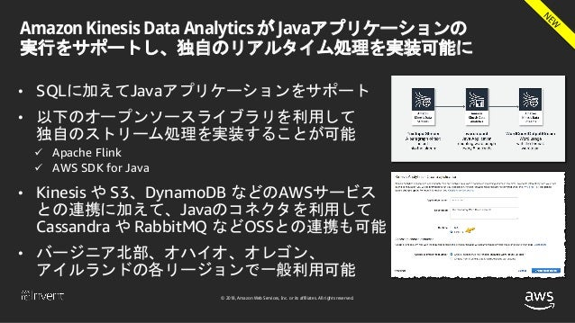 © 2018, Amazon Web Services, Inc. or its affiliates. All rights reserved. Amazon Kinesis Data Analytics が Javaアプリケーションの 実行...