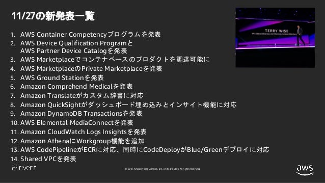 © 2018, Amazon Web Services, Inc. or its affiliates. All rights reserved. 11/27の新発表一覧 1. AWS Container Competencyプログラムを発表 ...