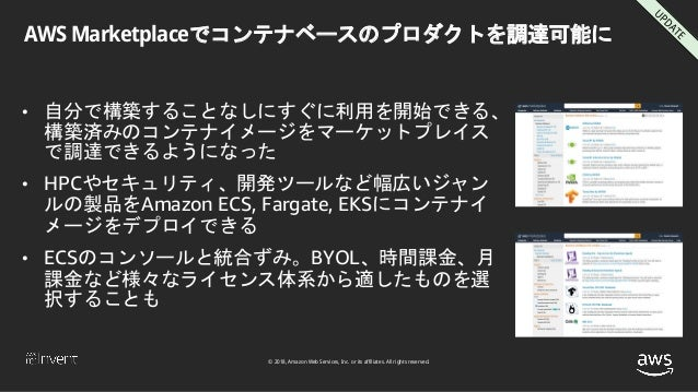 © 2018, Amazon Web Services, Inc. or its affiliates. All rights reserved. AWS Marketplaceでコンテナベースのプロダクトを調達可能に • 自分で構築することな...