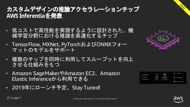 © 2018, Amazon Web Services, Inc. or its affiliates. All rights reserved. カスタムデザインの推論アクセラレーションチップ AWS Inferentiaを発表 • 低コスト...