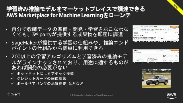© 2018, Amazon Web Services, Inc. or its affiliates. All rights reserved. 学習済み推論モデルをマーケットプレイスで調達できる AWS Marketplace for Ma...