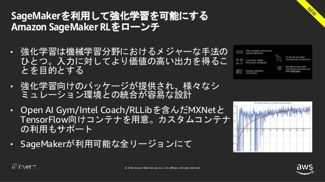 © 2018, Amazon Web Services, Inc. or its affiliates. All rights reserved. SageMakerを利用して強化学習を可能にする Amazon SageMaker RLをローン...