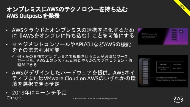 © 2018, Amazon Web Services, Inc. or its affiliates. All rights reserved. オンプレミスにAWSのテクノロジーを持ち込む AWS Outpostsを発表 • AWSクラウド...