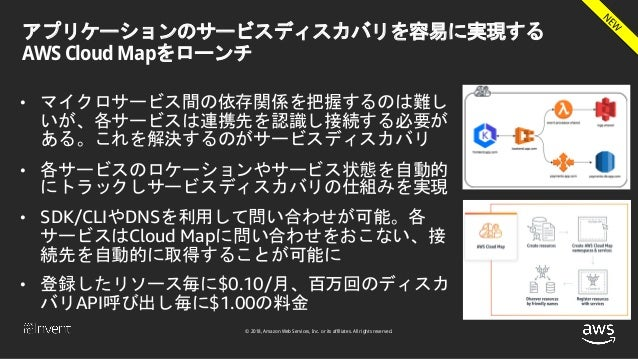 © 2018, Amazon Web Services, Inc. or its affiliates. All rights reserved. アプリケーションのサービスディスカバリを容易に実現する AWS Cloud Mapをローンチ •...