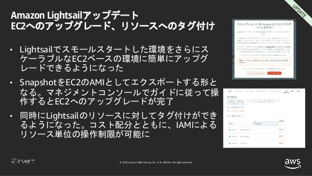 © 2018, Amazon Web Services, Inc. or its affiliates. All rights reserved. Amazon Lightsailアップデート EC2へのアップグレード、リソースへのタグ付け •...