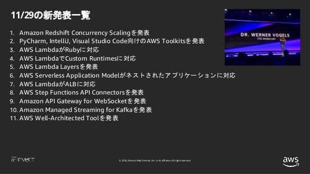 © 2018, Amazon Web Services, Inc. or its affiliates. All rights reserved. 11/29の新発表一覧 1. Amazon Redshift Concurrency Scali...