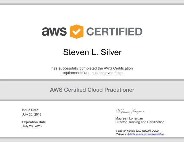 Steve Silver Aws Certified Cloud Practitioner Certificate