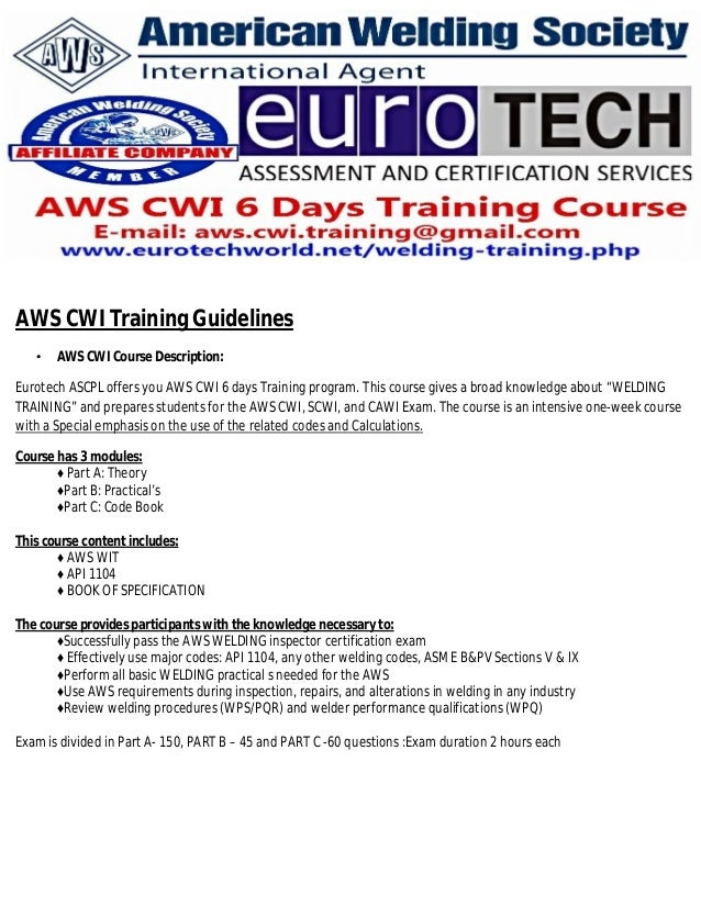 AWS CWI Training Guidelines